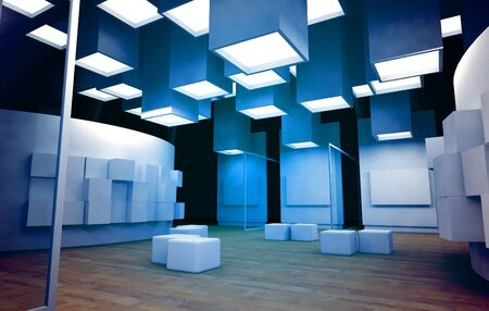 an exposition: Galleria d'arte con cornici vuote, edificio moderno, l'architettura concettuale nei colori blu
