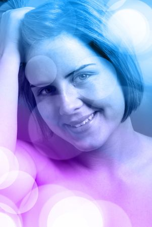 Beautiful woman with blue disco lights Stock Photo - 7015358
