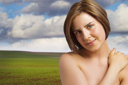 Happy woman, artistic nude in the meadow, environmental concept Stock Photo - 7015355