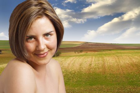 Happy woman, artistic nude in the meadow, environmental concept Stock Photo - 7015368