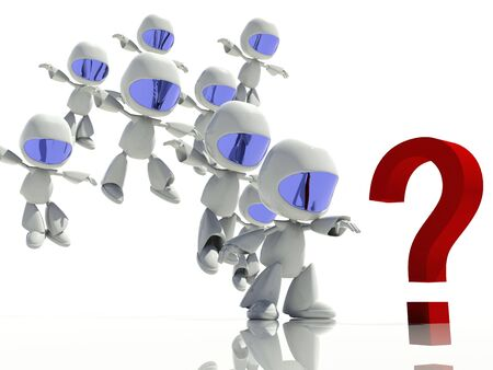 3d characters looking at a question mark, looking for answers Stock Photo - 7473462