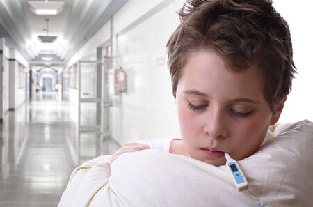 infect: sick child in hospital. Fever and flu Stock Photo