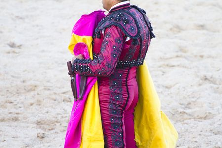 bullfighters: bullfighters costumes with details, Madrid, Spain.