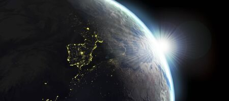 Earth view with day and night effects photo