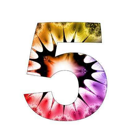 5 number with abstract design photo