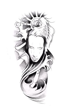 details: Sketch of tattoo art, monster Stock Photo