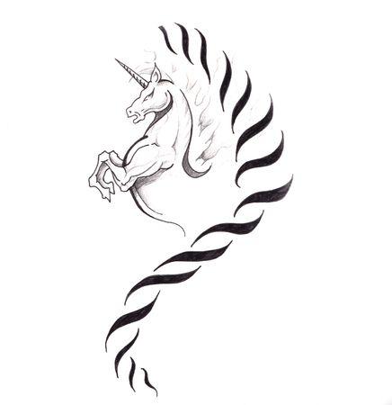 Sketch of tattoo art, horse, unicorn photo