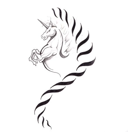 Sketch of tattoo art, horse, unicorn Stock Photo - 8207170