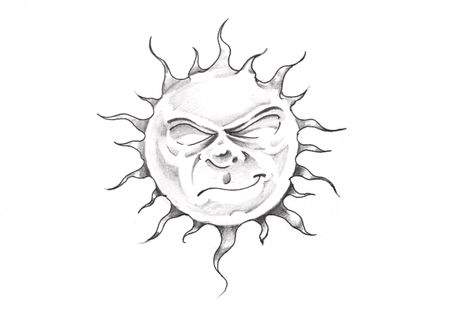 Sketch of tattoo art, sun with face photo