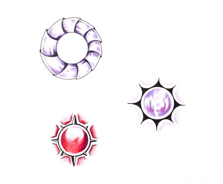 Sketch of tattoo art, sun designs photo