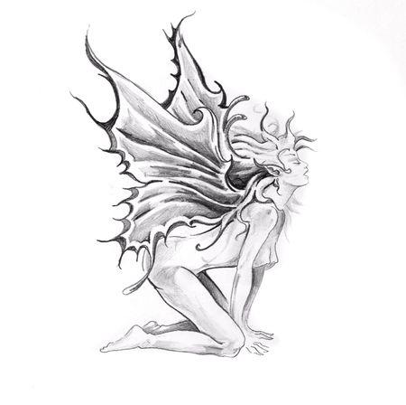 Boceto del arte de tatuaje, hadas desnuda  Foto de archivo - 8207259
