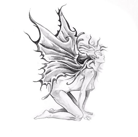 Sketch of tattoo art, nude fairy photo