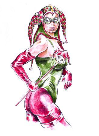 Sketch of tattoo art, sexy woman, jester photo