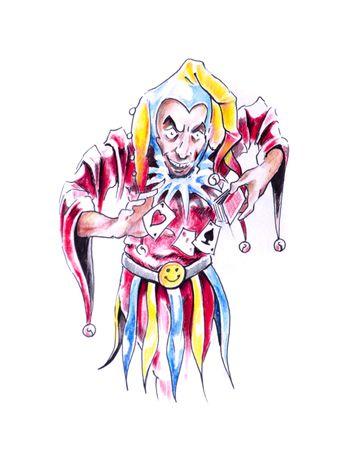 Sketch of tattoo art, jester, joker photo