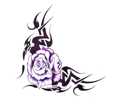 tribales: Boceto del arte de tatuaje, flor con dise�o tribal
