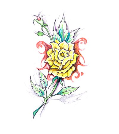 Sketch of tattoo art, flower with tribal design photo