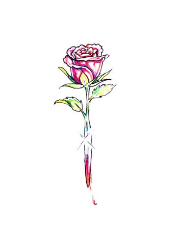 Sketch of tattoo art, rose and sword photo