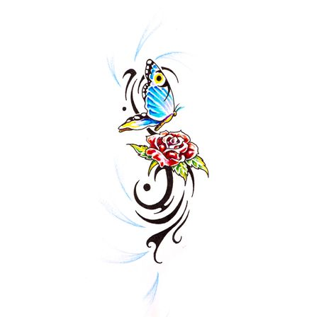 Sketch of tattoo art, butterfly with rose photo