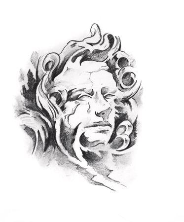 Sketch of tattoo art, angel photo
