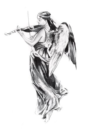 Sketch of tattoo art, angel photo