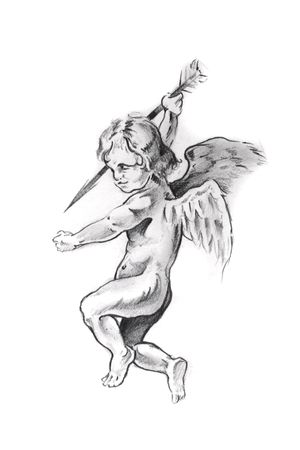 Sketch of tattoo art, cupid photo