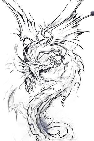 tatouage dragon: L'art du tatouage, dessin d'un dragon Banque d'images