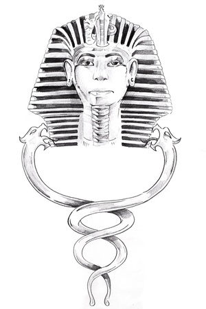 Tattoo art, sketch of a pharaoh mask Stock Photo - 8308876