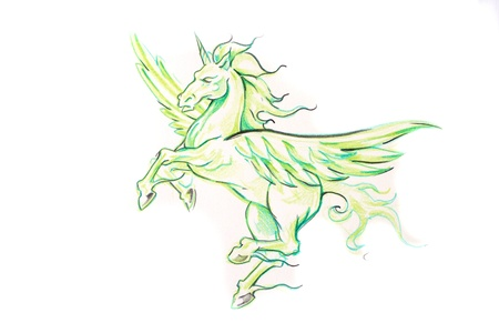 Tattoo art, sketch of an unicorn Stock Photo - 8308860