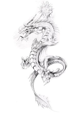 black  tattoo: Tattoo art, sketch of a dragon