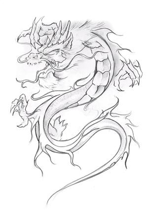 tatouage dragon: Tatouage art, esquisse d'un dragon m�di�val Banque d'images