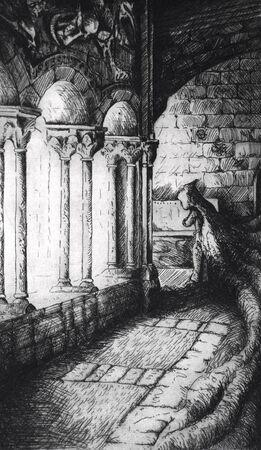 tribal dragon: Tattoo art, sketch of a abbey monk Stock Photo