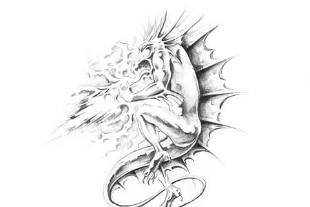 Tattoo art, sketch of a dragon Stock Photo - 8308879