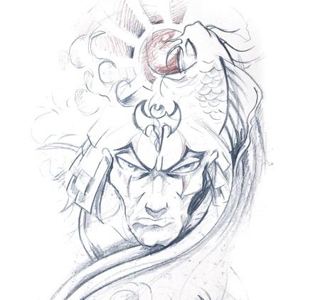 Tattoo art, sketch of a japanese warr Stock Photo - 8308867