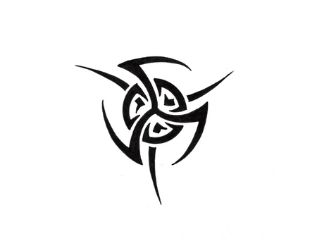 tribal tattoo: Tattoo art, sketch of a black tribal, sun Stock Photo