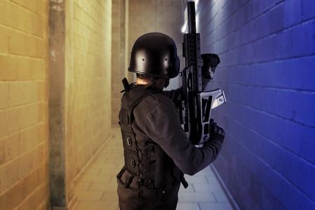 bulletproof: Airport security, armed police wearing bulletproof vests