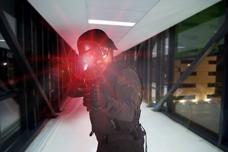 Soldier, defending the company against terrorism Stock Photo - 8423198