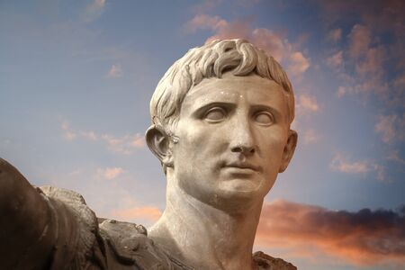 classicism: Sculpture of the Emperor Trajano of Rome, Ancient Art Stock Photo