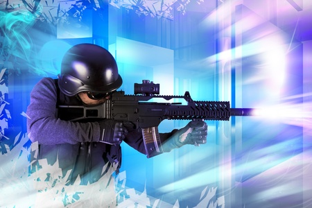 paintball: Paintball fighter. Soft air, paintball Stock Photo