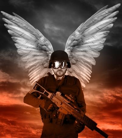 Dark angel with big wings, apocalipsis Stock Photo