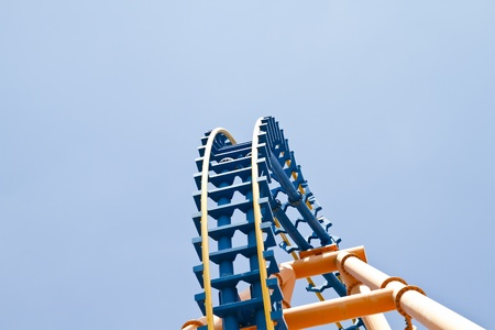roller coaster rails against blue sunny summer sky detail Stock Photo - 10365874