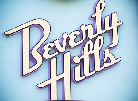 hollywood hills: Beverly Hills illuminated sign Stock Photo