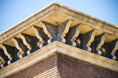 far west brick building facade detail photo