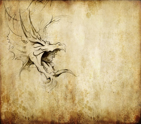 tribal dragon: Tattoo art, sketch of a dragon