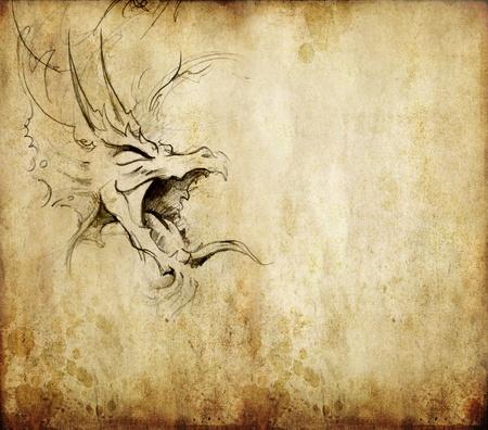 Tattoo art, sketch of a dragon Stock Photo - 10425458