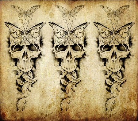 Tattoo art, sketch of a death over old paper Stock Photo - 10425441