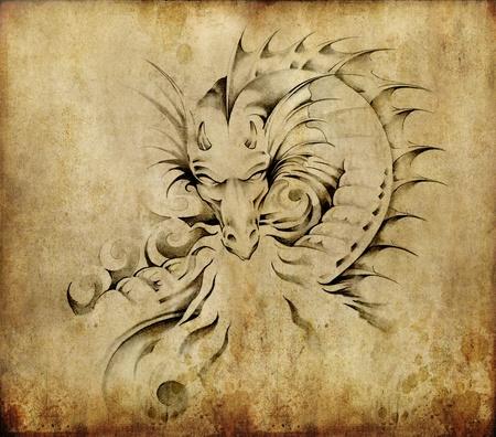 tatuaje dragon: Arte del tatuaje, dibujo de un drag�n sobre fondo sucio