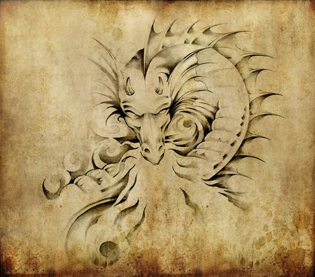 tatouage: Tatouage art, esquisse d'un dragon sur fond sale