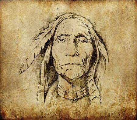 Tattoo art, sketch of an indian head photo