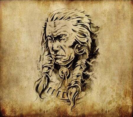 Tattoo art, sketch of an american  indian head Stock Photo - 10425440