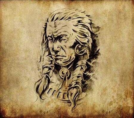 Tattoo art, sketch of an american  indian head photo